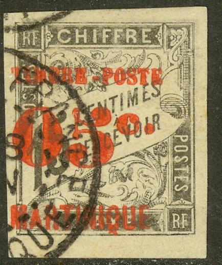 MARTINIQUE 1891-92 05c on 10c Red Surcharge on Imperf. Postage Due Sc 26 VFU