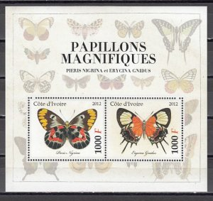 Ivory Coast. 2012 Cinderella issue. Butterfly s/sheet. #3. ^