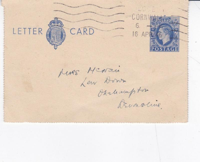 King George VI 2 1/2d Lettercard Used VGC