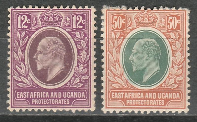 EAST AFRICA AND UGANDA 1907 KEVII 12C AND 50C