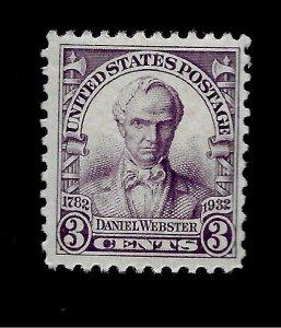 US 1932 Sc# 725  3 c Daniel Webster Mint H - Vivid Color - Centered