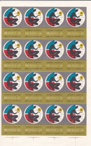 Brussels '58 Universal Exhibition Sheet of 16 labels