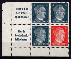 Germany 1941 Adolf Hilter, Marginal Corner Block [Mint]