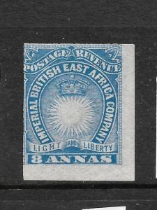BRITISH EAST AFRICA 1890-95   8a    BLUE  MLH  IMPERF    SG 12a