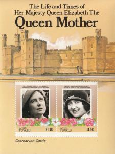 Tuvalu Vaitupu 1985 MNH Scott #55 Souvenir sheet of 2 $1.10 Queen Mother 85th...