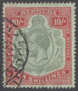 Bermuda 1916 10s Green & Carm on Grn Multi Cr SG 54, Scott 53 VFU Cat £350($584)