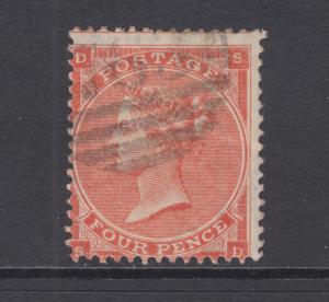Great Britain Sc 34b used 1862 4p vermilion Queen Victoria, Plate 4, sound