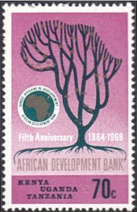 Kenya-Uganda-Tanzania # 206 mnh ~ 70¢ Tree, Bank Emblem