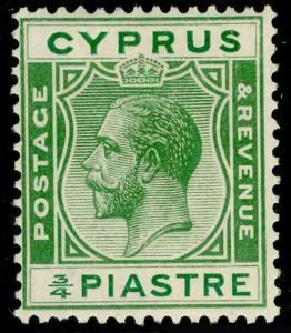 CYPRUS SG105, ¾pi green, LH MINT.