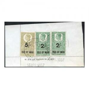 Isle of Man KGVI 5/- and 2 x 2/- Key Plate Type Revenues CDS on Piece