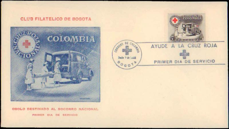 Colombia, Worldwide First Day Cover, Red Cross
