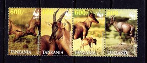 Tanzania 2437 MNH 2006 W.W.F. (Animals) strip of 4
