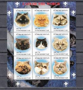 Turkmenistan, 1999 Russian Local issue. Cats of the World sheet of 9.