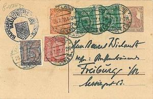 GERMANY REICH: POSTAL HISTORY: POSTAL STATIONERY with SERVICE stamps 1922