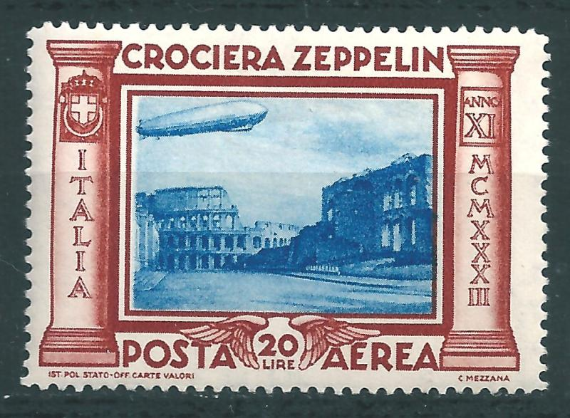 IITALY : T055  -  1933 air mail ZEPPELIN 20 L. - very leight hinged