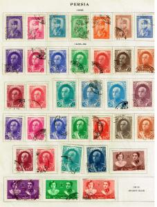 IRAN PERSIA USED STAMPS ON ALBUM PAGE LOT #S2
