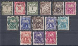 French Andorra Sc J9//J37 MLH. 1931-1946 Postage Dues, 14 different, F-VF