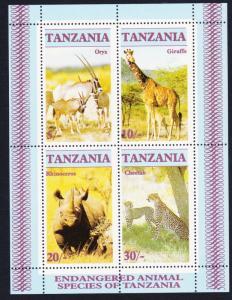 Tanzania Oryx Giraffe Rhinoceros Cheetah MS SG#MS483 SC#318a
