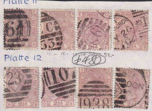 GREAT BRITAIN SC 67 PLATES 11, 12 USED x8 $480 SCV SPECIALIST COLLECTION LOT