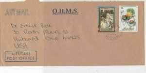 Cook Islands 1991 O.H.M.S. Airmail Aitutaki Post Office Stamps Cover R 18001