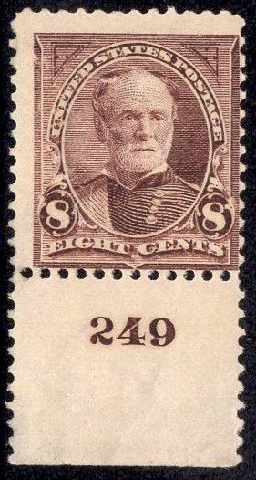 US Stamp Scott #272 Plate Single Mint Previously Hinged SCV $70