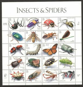 3351 Insects & Spiders Sheet Of 20 Mint/nh Selling At Face