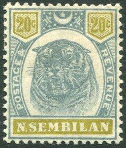 NEGRI SEMBILAN-1895-99 20c Green & Olive Sg 12 MOUNTED MINT V32647
