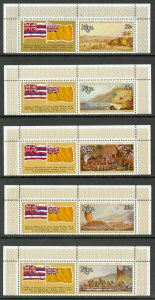 NIUE 1978 CAPTAIN COOK ARRIVAL IN HAWAII Set w FLAG LABELS Sc 214-218 MNH