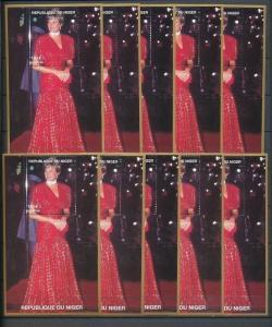 LADY DIANA NIGER 1997 180F Red Dress MNH Minisheets 10x [D165]