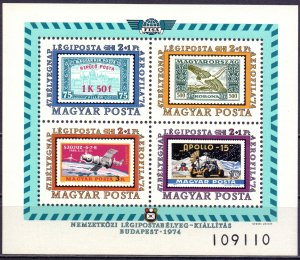 Hungary. 1974. bl109. Stamps on stamps. MNH.