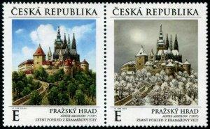 HERRICKSTAMP NEW ISSUES CZECH REPUBLIC Sc.# 3790 Prague Castle Setenant Pair
