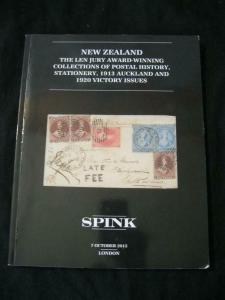 SPINK AUCTION CATALOGUE 2015 NEW ZEALAND 'LEN JURY' COLLECTION
