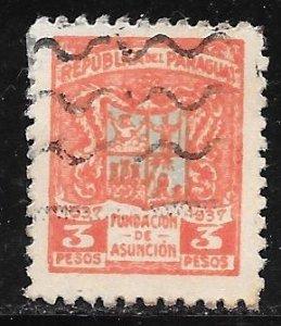 Paraguay 343: 3p Arms of Asunción, used, VF