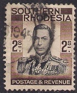 Southern Rhodesia 1937 KGV1 2/-d Black & Brown used SG 50 ( B670 )