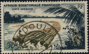 A.E.F. / CONGO - 1961 - CAD MINDOULI/ CONGO SUR Yv. PA58 50fr FLOTTAGE DU BOIS
