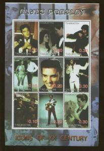 2001 Tajikistan Commemorative Souvenir Sheet Elvis Presley 20th Century Icon