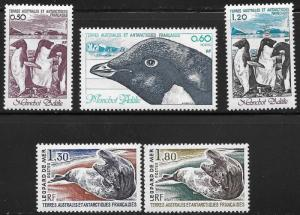 French Southern Antarctic Territories FSAT TAAF Scott 89-93 M NH Cat US$6