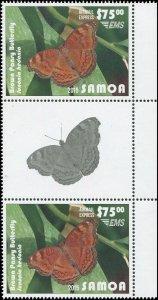 Samoa 2015 Sc C14 Gutter Pair Brown Pansy Butterfly CV $110