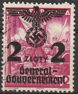 Stamp Germany Poland General Gov't Mi 028 Sc N46 1940 WWII 3 Reich Nazi Era Used