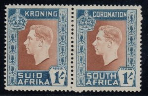 South Africa SG 75a, MHR pair, Hyphen on Afrikaans Stamp Omitted variety