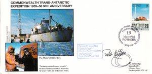 British Antarctic Territory FDC Sc 147 Signed Peter Jeffries Cachet Ship Ther...