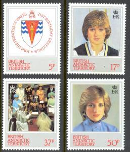 British Antarctic Territory Sc# 92-95 MNH 1982 Princess Diana