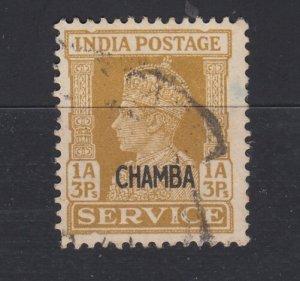 J28357 1941-6  india states chamba used #o60 ovpt king