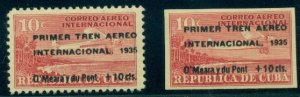 CUBA #C16-17, Airmails, Black Surcharged, perf and imperf, og, LH, VF, Scott $55