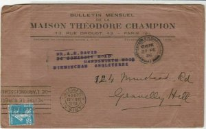 Theodore Champion 1926 Paris Monthly Philatelic Newsletter Stamps Cover Rf 31903