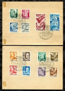 p695 - GERMANY French Occupation WURTTEMBERG 1948 Set of 14 on Two Postal Cards