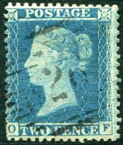 1855 2d Blue OF Plate 5  LC14 FINE USED V82873