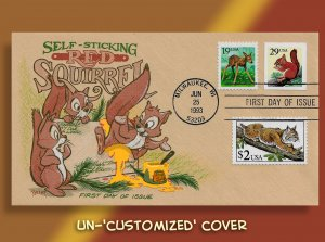 Red Squirrel 'Self-Sticks' Himself to Mail!  Unique Combo with Fawn and Bobcat!