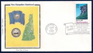 UNITED STATES FDC 25¢ New Hampshire Statehood 1988 Colorano