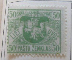 A11P4F5 Litauen Lituanie Lithuania 1919 Wmk Wavy Lines 50sk White Paper MH*